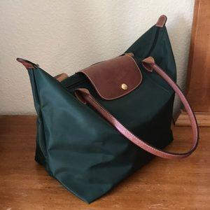 Dark green with brown Longchamp zip bag